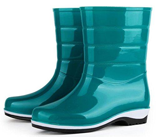 Idifu Damesmode Korte Regenlaarzen Rubber Laarzen Met Hakken Blauw