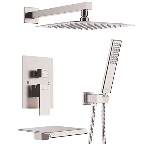 (EMBATHER Shower System with Waterfall Tub Spout Shower Faucet Set with 12 Inches Rain Shower Head Wall Mounted Shower Set Brushed Nickle (Contain Rough-in Valve Body and Trim))