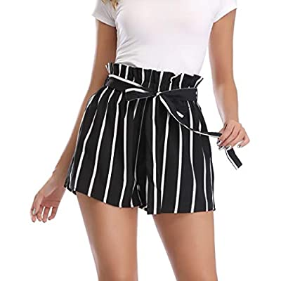 Dilgul Womens Casual Elastic High Waisted Striped Summer Shorts with Pockets: Clothing