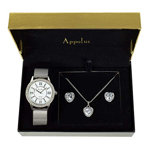 Appolus Birthday Necklace Watch Gift - Gifts for Women Mom Girlfriend Wife Anniversary Graduation Necklace Earrings Watch Silver Mesh Set