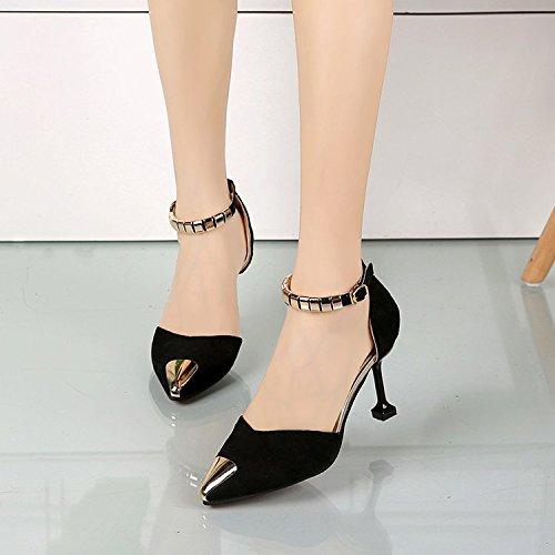 Baotou Qiqi el zapatos Xue ranurada hueca con tacones Negro cm correa punta y de 8 mujeres finos sandalias de PpRwxRq