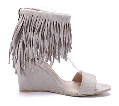 5ddebf1c7c7cff ... Schuhtempel24 Damen Schuhe Keilsandaletten Sandalen Sandaletten  Keilabsatz 9 cm Beige ...