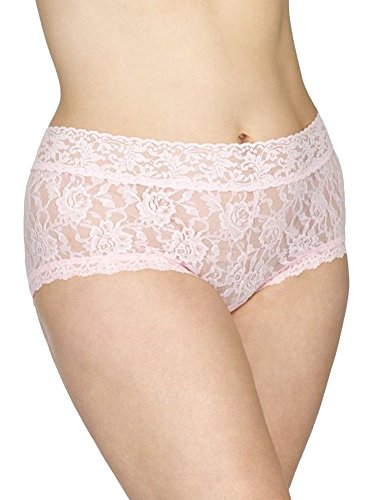 Hanky Panky Women's Plus Size Signature Lace Solid New Boyshort Bliss Pink Bikini 1X (16W-18W) - Hanky Panky Mid Rise