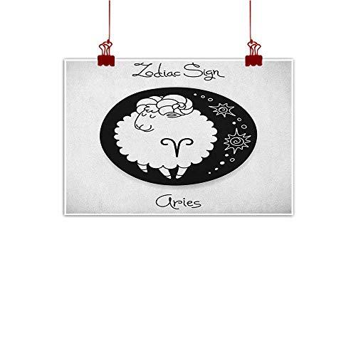 J Chief Sky Canvas Prints Boho Zodiac Aries,Big Black Dot with Cute Fluffy Ram and Artful Tribal Motifs Funny Design, Black and White 24