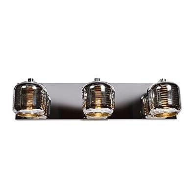 Dor 3-Light LED Vanity - Mirrored Stainless Steel Outer, Smoked Amber Glass Inner Diffuser