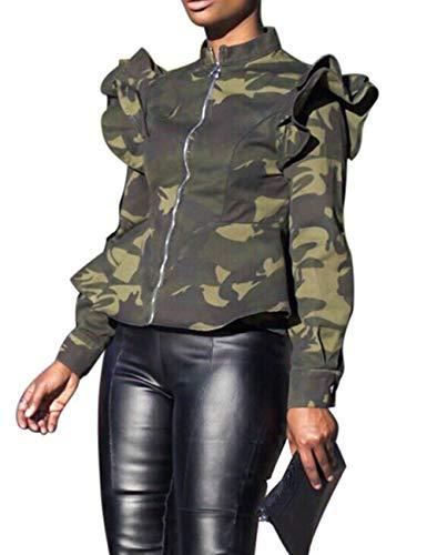 XXXITICAT Women's Ruffle Straight Aviator Coats Outerwear Satin Motorcycle Flounced Bomber Jacket(CA4,2XL)
