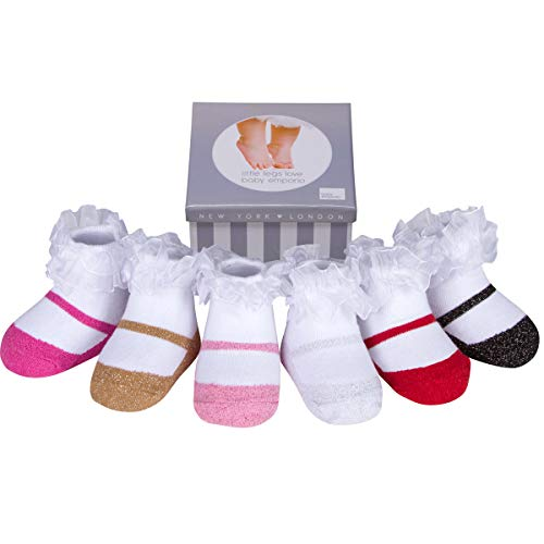 Baby Infant Toddler Girl Shoe Look Socks-Anti slip Soles - Soft Cotton - 6 Pairs - Baby Shower Gift - 3-12 & 12-24 Months