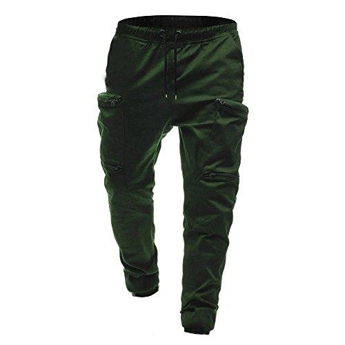 Green Pantaloni Classica Con Cerniera Army Pelle Da Beikoard Uomo Coulisse Sportivi In fSPxqU