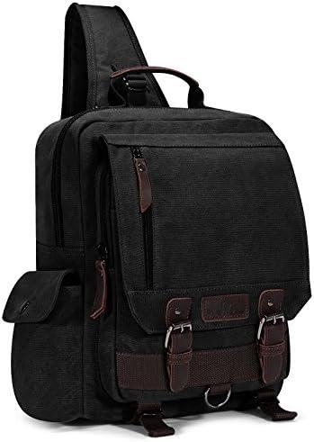 Plambag Canvas Sling Backpack One Strap Travel Sport Crossbody Bag Black