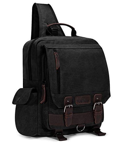 Plambag Canvas Sling Backpack One Strap Travel Sport Crossbody Bag Black -
