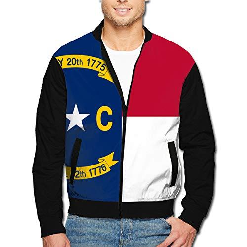 Men's Flag of North Carolina-NC Long Sleeve Full Zip Bomber Jacket Coat Stand ()
