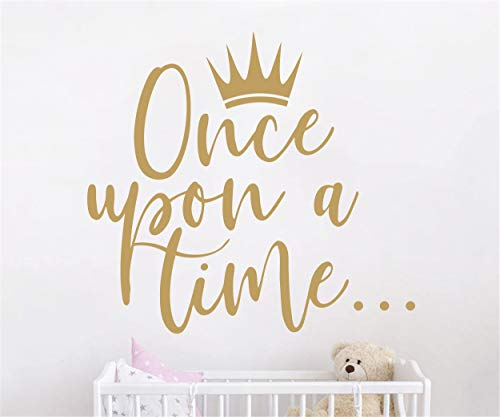 (JURUOXIN Once Upon a time with Crown Wall Sticker Art Vinyl Home Quote Decals for Kids Girl Princess Room Nursery Decoration House Interior Design YMX38 (Matte Gold, 42X38CM))