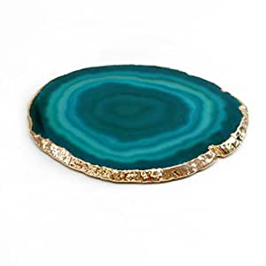 """The Royal Gift Shop: SINGLE Authentic Brazilian Agate Slice With 24k Gold Plated Rim - Teal 4"""" Protective rubber bumpers included."""