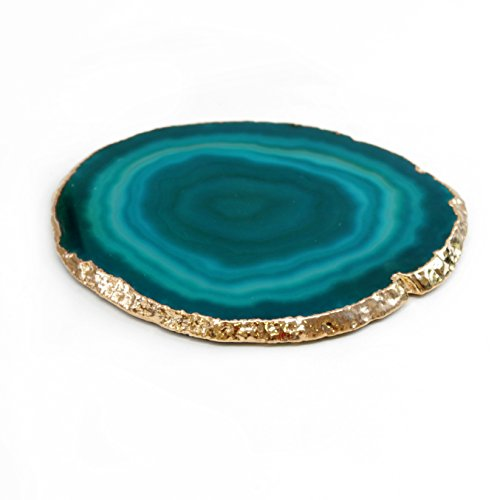 Authentic Brazilian Agate Drink Coaster With 24k Gold Plated Rim - Teal (4