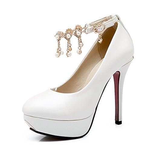 VogueZone009 Women's Solid PU Spikes-Stilettos Buckle Round Closed Toe Pumps-Shoes White 7EcC1ILo