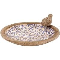 Esschert Design USA Ceramic Birdbath-Blue/White