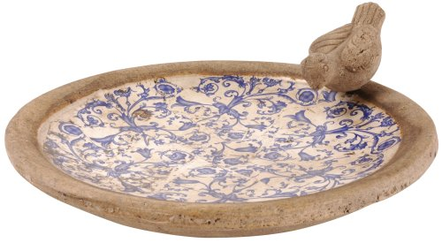 Esschert Design USA Ceramic Birdbath-Blue/White AC10