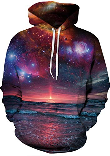 (Sportides Unisex Boy Girl Realistic 3D Digital Print Pullover Hoodie Hooded Fleece Sweatshirt LYM022_Purple_S/M)