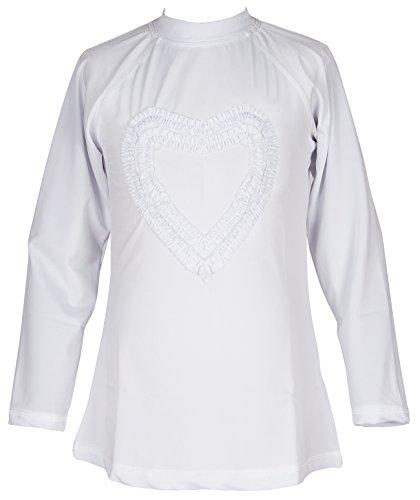 Girls' Ruffled Valentine Solid Rash Guard Swim Shirts UPF 50+ Sun Protective (12, White Long) by Holy Unicorn