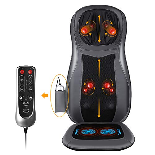 Maxkare Shiatsu Neck & Back Massager with Heat Full Back Kneading Shiatsu Massage Vibration Massage Seat Cushion for Neck Back Relieve Fatigue Use at Home, Car, Office