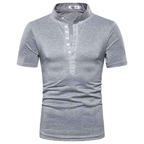 Tronet Men's tops Mens Summer t Shirts Short Sleeve Casual Pure Color Button Striped Splice Casual Sport Lapel Short Sleeve Shirt ()