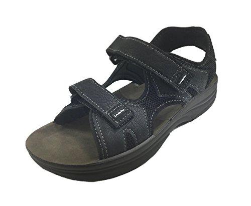 Fondo Sandalo Gomma RY24 Uomo Nero Chiusura Velcro Casual INBLU afwHq