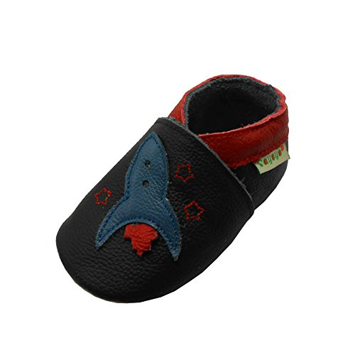Sayoyo Baby Rocket Soft Sole Black Leather Infant And Toddler Shoes 12-18Months - Kid Rocket Slipper