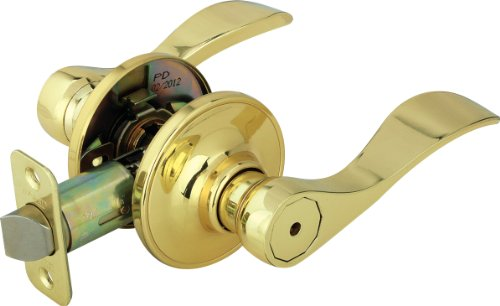 Bath Privacy Door Lock (Legend 809120 Wave Style Lever Handle Privacy Bed and Bath Leverset Lockset, US3 Polished Brass Finish)