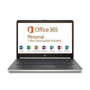 HP 14″ HD Intel N4000 2.6GHz 4GB RAM 64GB eMMC Webcam Windows 10 Laptop + 1 Year Microsoft Office, Silver, 14-14.99 inches (7MP91UA)
