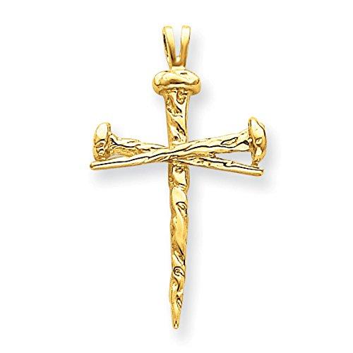 14K Yellow Gold Passion Nails Cross Charm Pendant - 14k Yellow Gold Nail