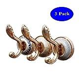 Marble European Style Coat Hook Wall Single Hook for Hanging Coat, Towels, Keys, Bags 3 pcs