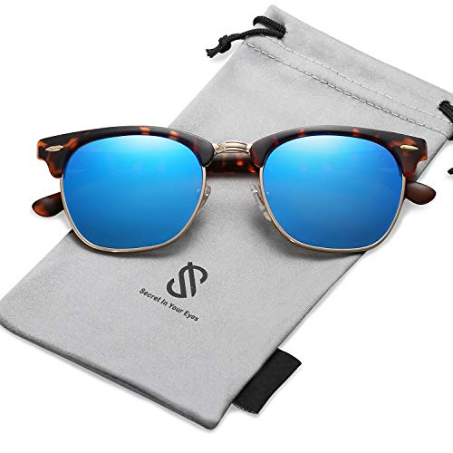 SOJOS Semi Rimless Polarized Sunglasses Half Horn Rimmed Glasses SJ5018 with Tortoise Frame/Blue Mirrored Polarized ()