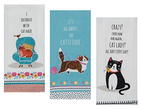 - 3 Cat Themed Decorative Cotton Kitchen Towels with Sayings Set | 1 Flour Sack, 2 Tea Towels for Dish and Hand Drying | by Kay Dee Designs