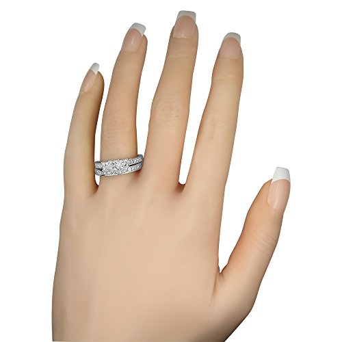14k White Gold Princess-cut 3 Three-Stone Diamond Bridal Set Ring (2 cttw, H-I, I1-I2) by La4ve Diamonds (Image #4)