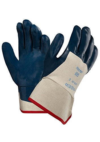Cotton Gloves Ansell (Ansell Hycron 27-607 Blue Nitrile Coated Safety Cuff Gloves)