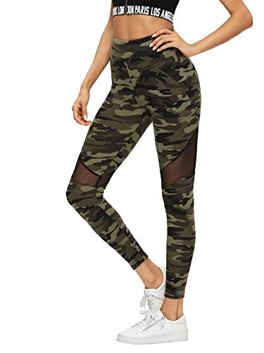 DIDK Femme Legging Camo Camouflage Legging De Sport Casual Militaire Pantalon Fitness Elastique Running