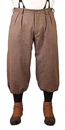 Historical Emporium Men's Wool Blend Herringbone Tweed Knickers 46 Brown