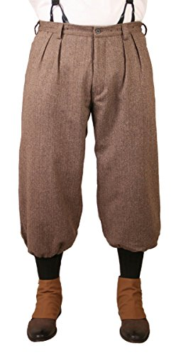 - Historical Emporium Men's Wool Blend Herringbone Tweed Knickers 32 Brown