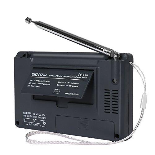 SEMIER Portable Shortwave Travel AM FM Stereo Radio Clock, Alarm, Clear Loudspeaker, Earphone Jack USB Power Cord by SEMIER (Image #5)