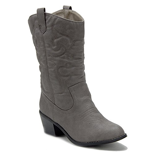 J'aime Aldo Women's BDW-14 Tall Stitched Western Cowboy Cowgirl Boots, Taupe, (Western Fashion Cowgirl Boots)