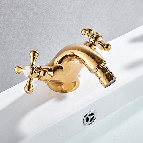 Honana 蛇口, 蛇口キッチンタップゴールデンビデ蛇口二つのスイベルは、浴室の容器シンクタップ単穴デッキは水ミキサータップクロームアンティーク真鍮をマウントハンドル キッチン蛇口 混合水栓