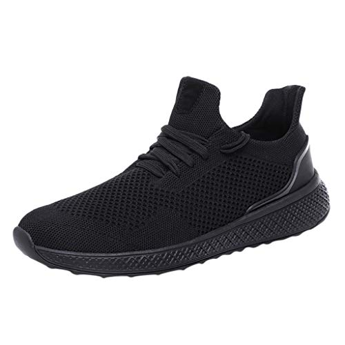 QBQCBB Mens Sneakers Athletic Shoes Walking Casual Shoes Walking Athletic Fitness Indoor and Outdoor Shoes (Black,43)