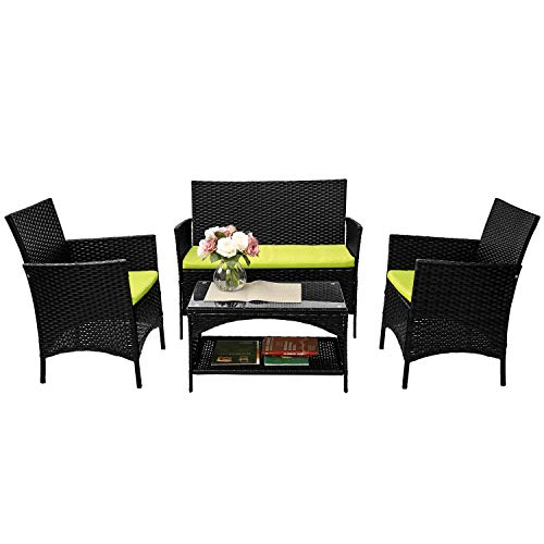 Merax 4 PCS Cushioned Outdoor PE Wicker Patio Set Garden Lawn Rattan Sofa Furniture Conversation Set (Green)