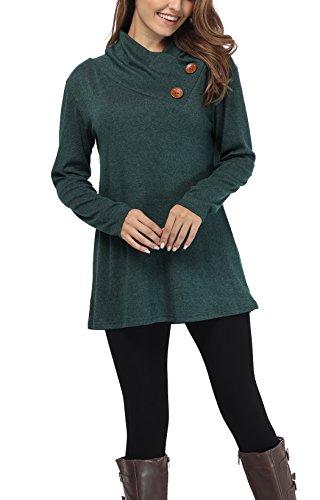 iGENJUN Women's Long Sleeve Lapel Neck Button Design Loose fit Casual Basic Tops,Green,M by iGENJUN (Image #1)