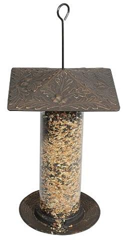 Whitehall Products Oakleaf Tube Feeder, 12-Inch, Oil Rub Bronze - Bronze Oak Bird Feeder