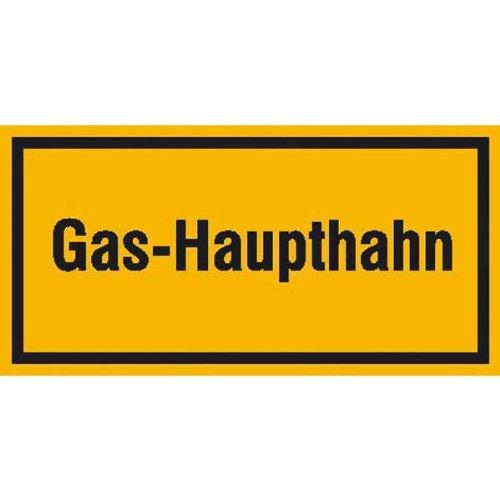 Gas-Haupthahn, Hinweisschild zur Betriebskennzeichnung, selbstkl. Folie ,20x10cm