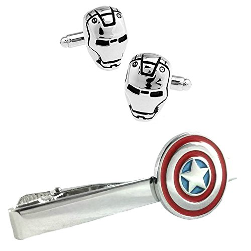 Outlander Ironman Silver Cufflink & Captain America Tiebar - New 2018 Marvel Studios Superhero Movies - Set of 2 Wedding Logo w/Gift Box by Outlander