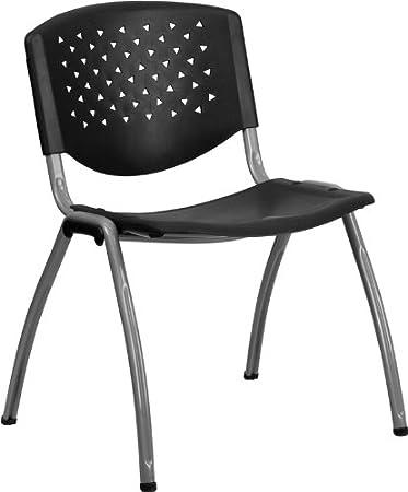 Marvelous Flash Furniture HERCULES Series 880 Lb. Capacity Black Plastic Stack Chair  With Titanium Frame