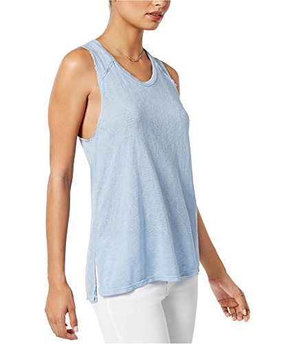 Project Social T Womens James Raw Edge Knit Tank Top Blue M ()