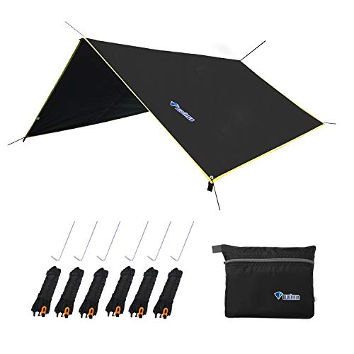 LLY Lightweight Hammock Sun/Rain Tarp Shelter Shade Tent Tarp with Stakes and Ropes for Camping Backpacking Fishing (94